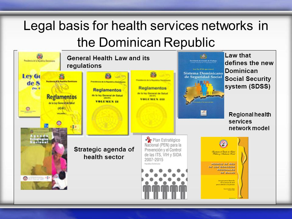 Legal basis for health services networks in the Dominican Republic Law that defines the new Dominican Social Security system (SDSS) General Health Law and its regulations Strategic agenda of health sector Regional health services network model