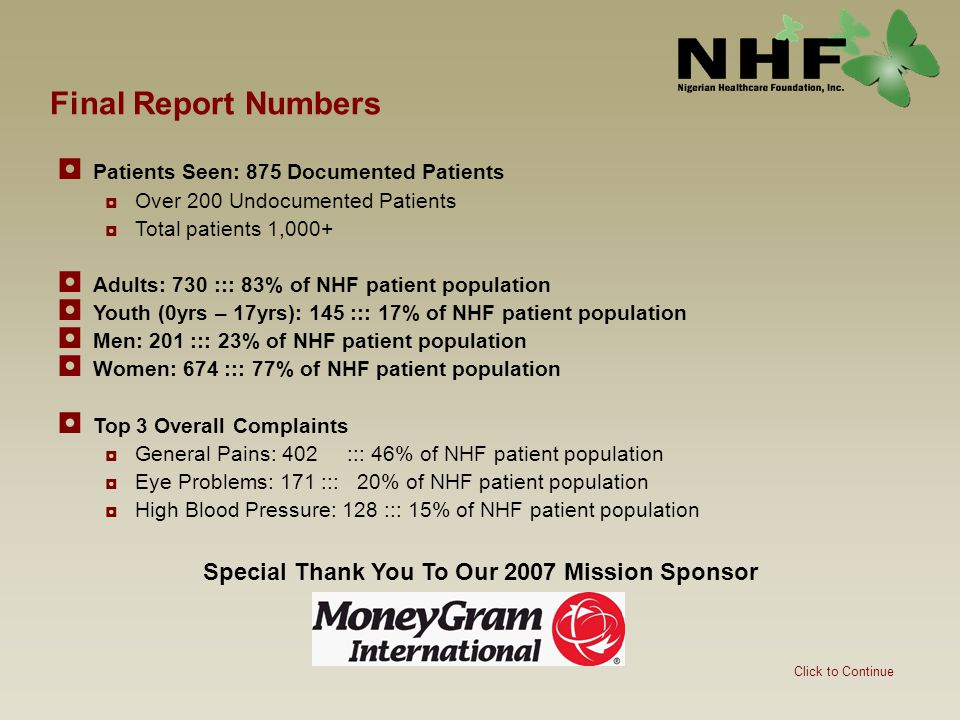 Final Report Numbers ◘ Patients Seen: 875 Documented Patients ◘Over 200 Undocumented Patients ◘Total patients 1,000+ ◘ Adults: 730 ::: 83% of NHF pati