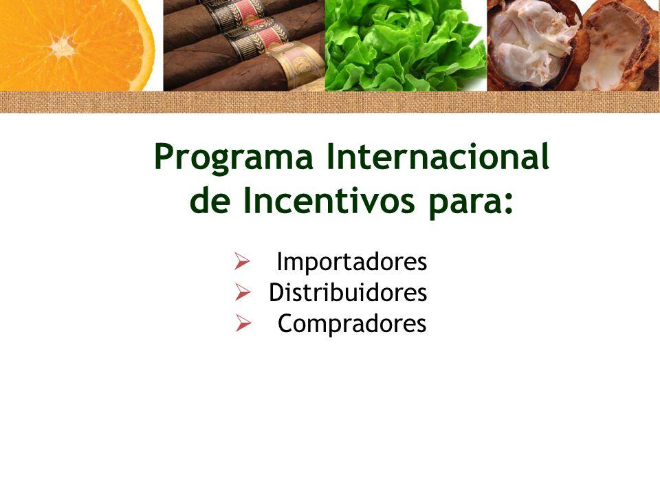  Importadores  Distribuidores  Compradores Programa Internacional de Incentivos para: