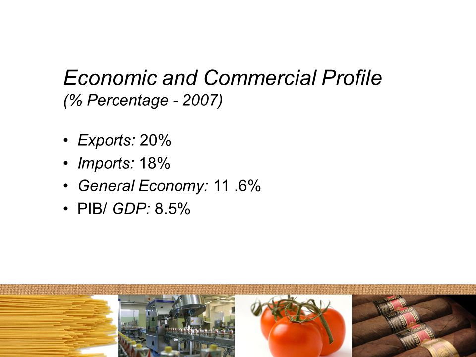 Economic and Commercial Profile (% Percentage - 2007) Exports: 20% Imports: 18% General Economy: 11.6% PIB/ GDP: 8.5%
