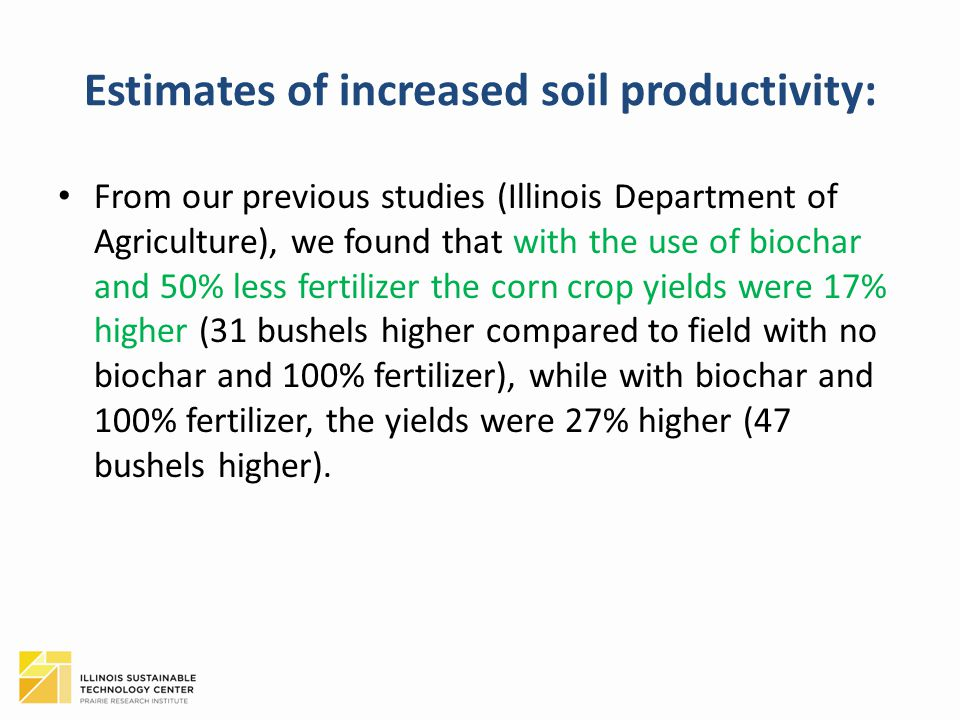 Estimates of increased soil productivity: From our previous studies (Illinois Department of Agriculture), we found that with the use of biochar and 50