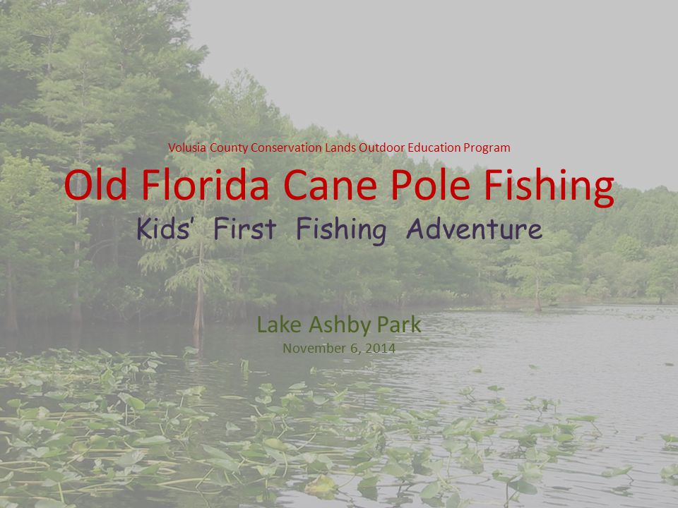Volusia County Conservation Lands Outdoor Education Program Old Florida Cane Pole Fishing Kids' First Fishing Adventure Lake Ashby Park November 6, 2014