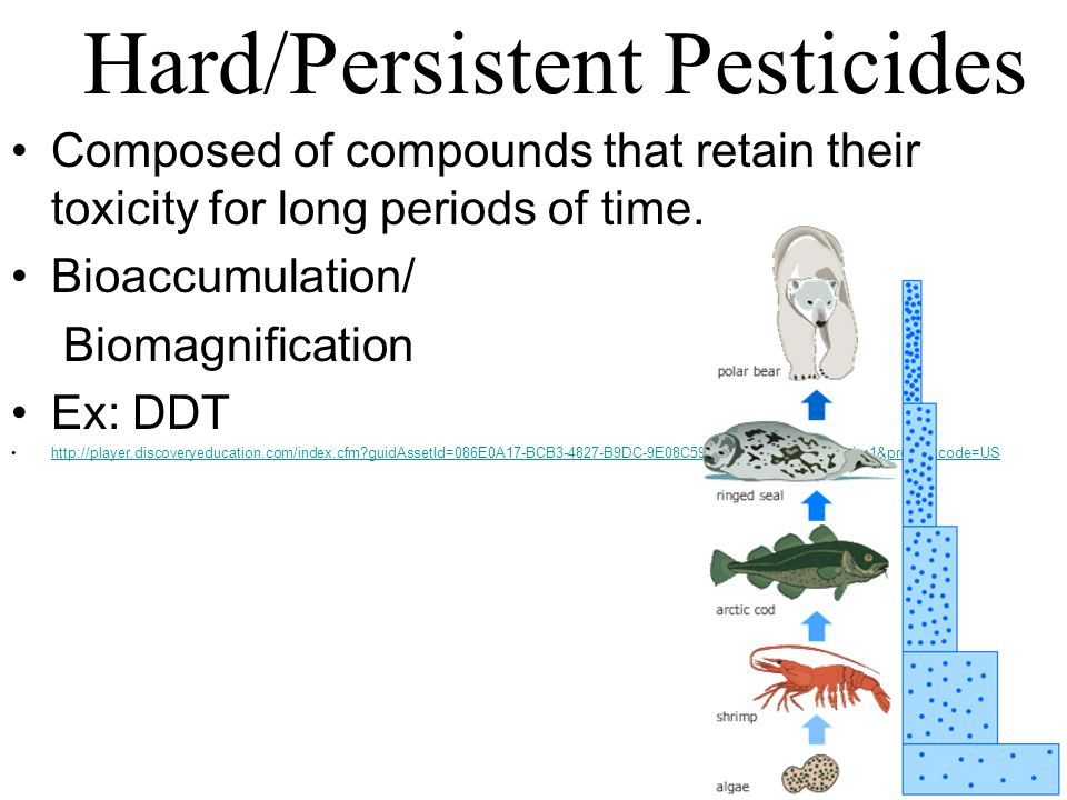 Composed of compounds that retain their toxicity for long periods of time. Bioaccumulation/ Biomagnification Ex: DDT http://player.discoveryeducation.