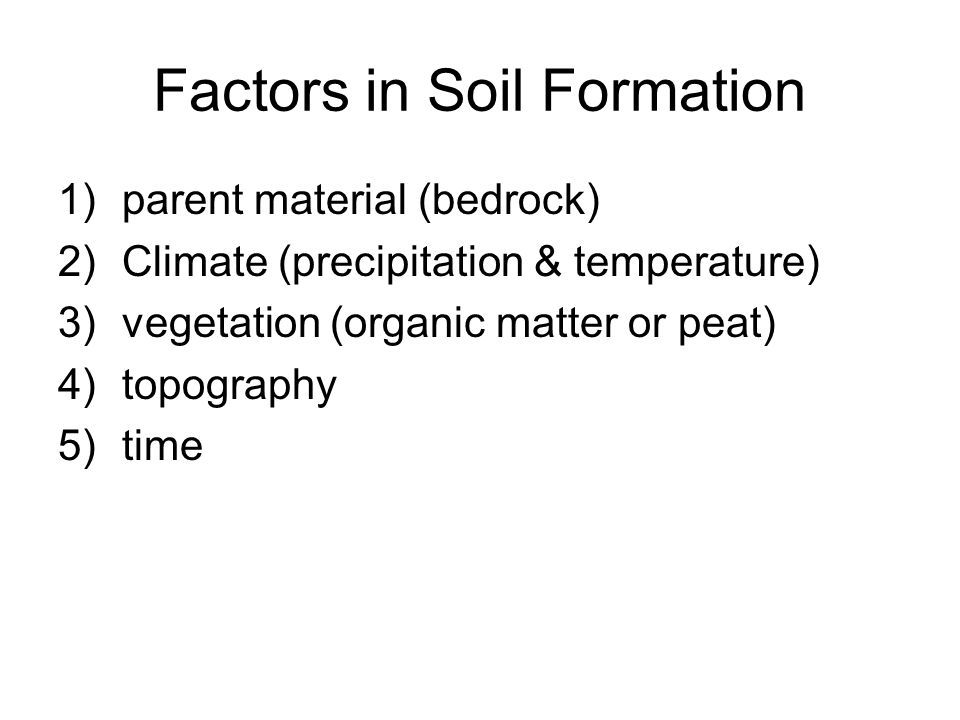 Factors in Soil Formation 1)parent material (bedrock) 2)Climate (precipitation & temperature) 3)vegetation (organic matter or peat) 4)topography 5)tim