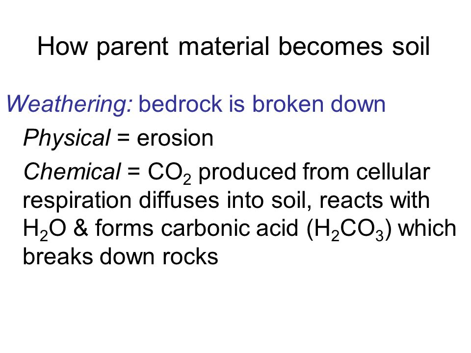 How parent material becomes soil Weathering: bedrock is broken down Physical = erosion Chemical = CO 2 produced from cellular respiration diffuses int