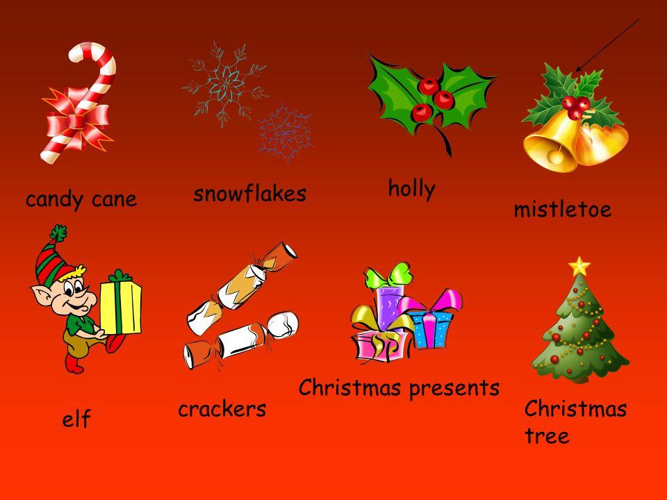 candy cane snowflakes holly mistletoe elf crackers Christmas presents Christmas tree