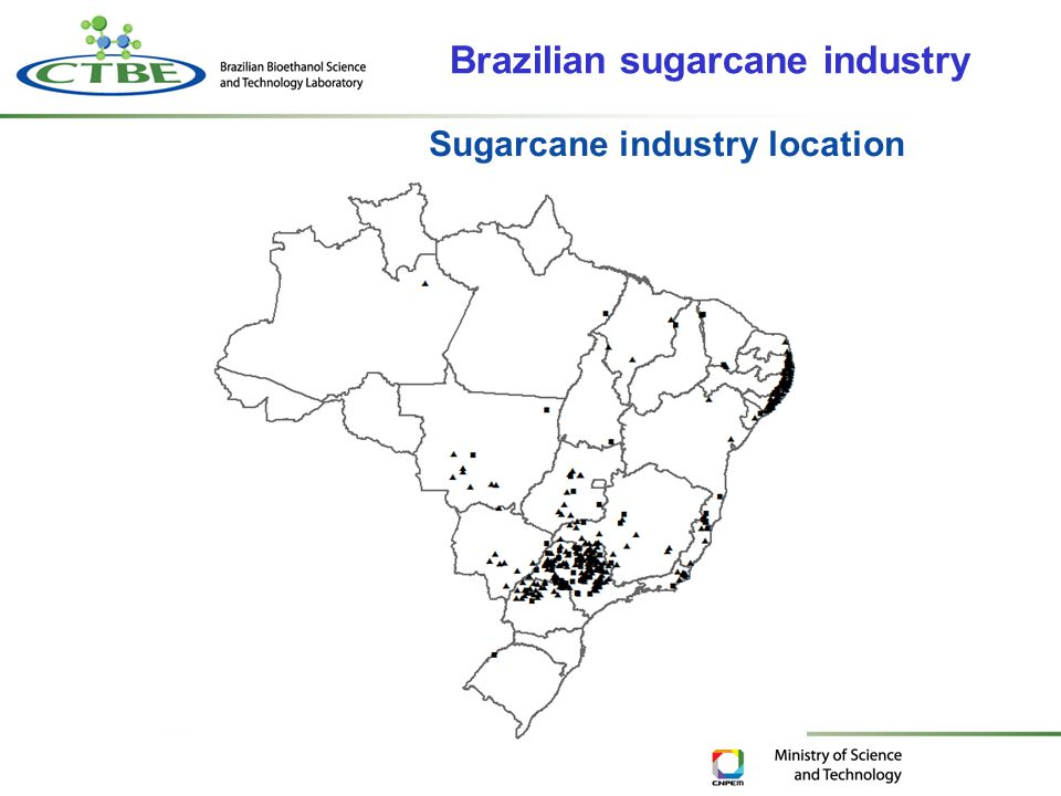 Sugarcane industry location Brazilian sugarcane industry