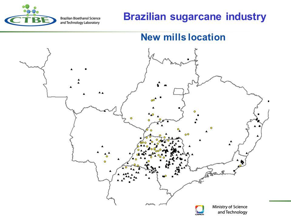 New mills location Brazilian sugarcane industry