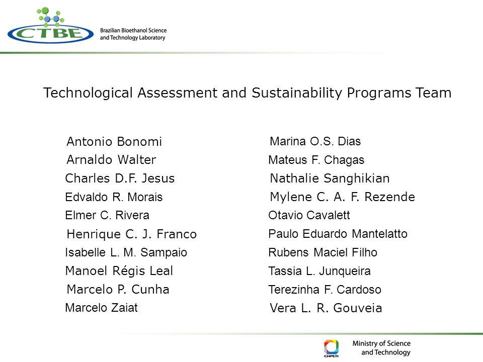 Technological Assessment and Sustainability Programs Team Antonio Bonomi Arnaldo Walter Charles D.F. Jesus Edvaldo R. Morais Elmer C. Rivera Henrique