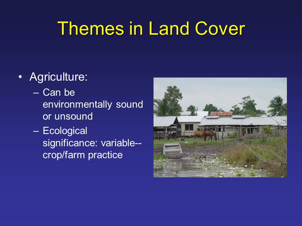 Themes in Land Cover Agriculture: –Can be environmentally sound or unsound –Ecological significance: variable-- crop/farm practice