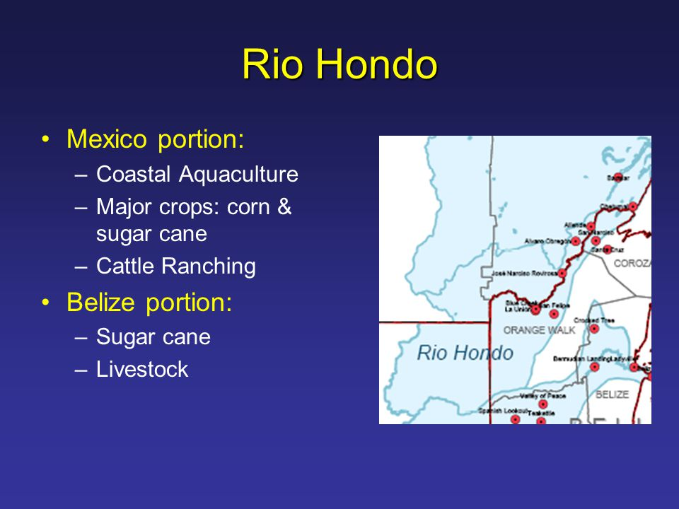 Rio Hondo Mexico portion: –Coastal Aquaculture –Major crops: corn & sugar cane –Cattle Ranching Belize portion: –Sugar cane –Livestock