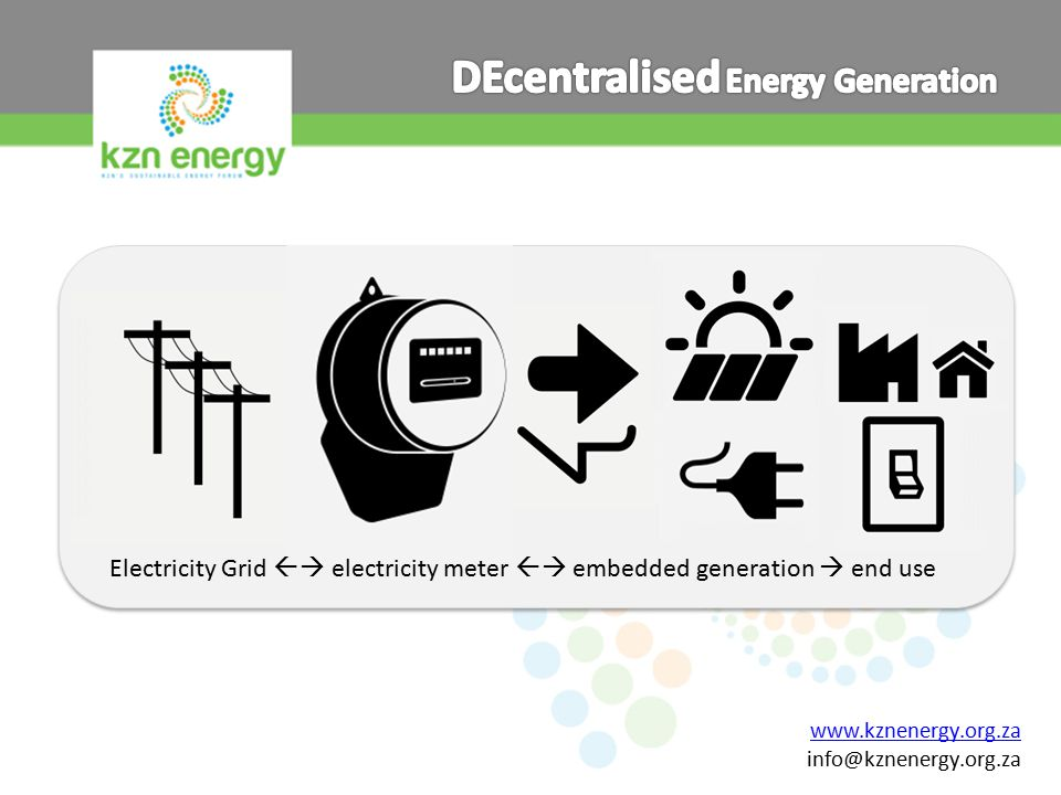 www.kznenergy.org.za info@kznenergy.org.za Electricity Grid  electricity meter  embedded generation  end use