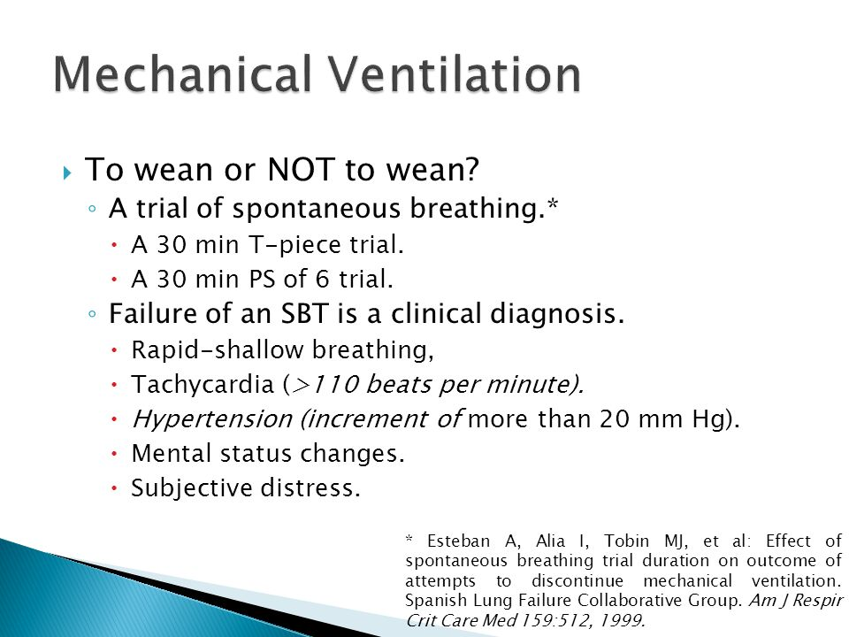  To wean or NOT to wean. ◦ A trial of spontaneous breathing.*  A 30 min T-piece trial.
