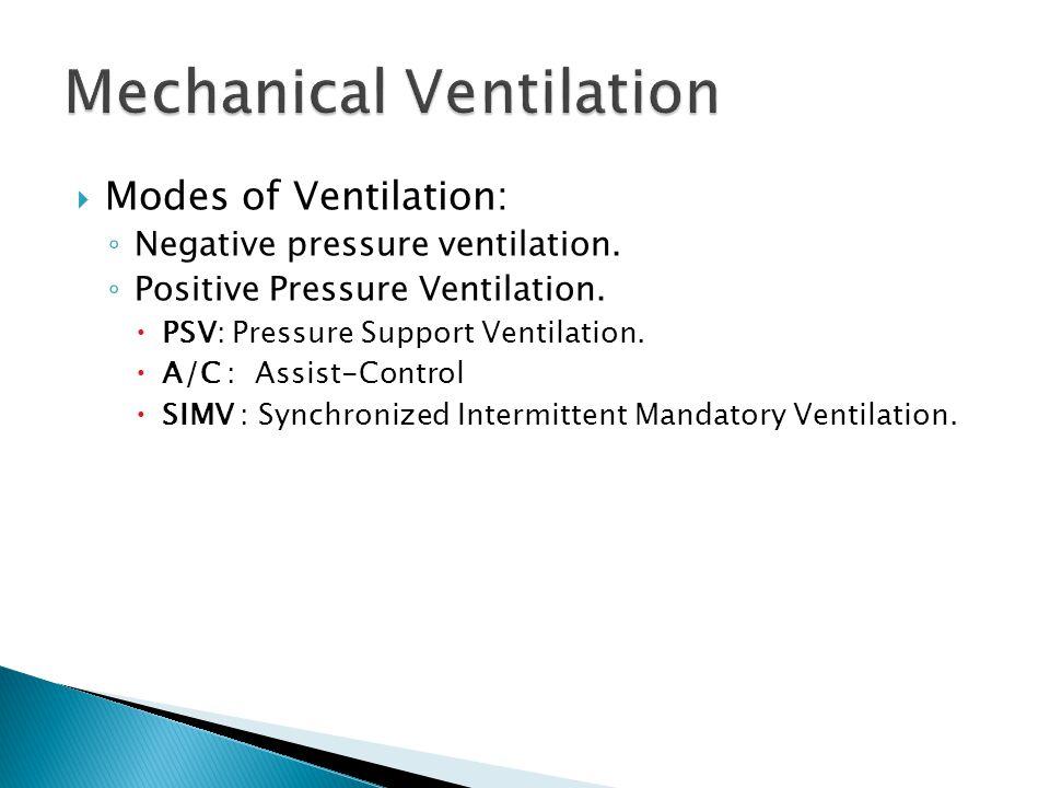  Modes of Ventilation: ◦ Negative pressure ventilation.