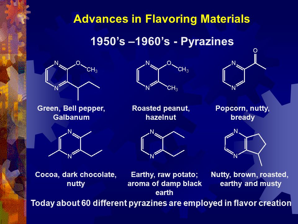 Advances in Flavoring Materials Green, Bell pepper, Galbanum Roasted peanut, hazelnut Popcorn, nutty, bready Cocoa, dark chocolate, nutty Earthy, raw potato; aroma of damp black earth Nutty, brown, roasted, earthy and musty 1950's –1960's - Pyrazines Today about 60 different pyrazines are employed in flavor creation