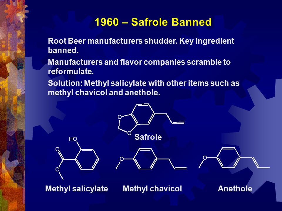 1960 – Safrole Banned Root Beer manufacturers shudder. Key ingredient banned. Manufacturers and flavor companies scramble to reformulate. Solution: Me