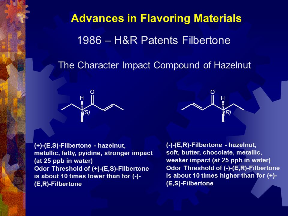 Advances in Flavoring Materials 1986 – H&R Patents Filbertone The Character Impact Compound of Hazelnut (-)-(E,R)-Filbertone - hazelnut, soft, butter,
