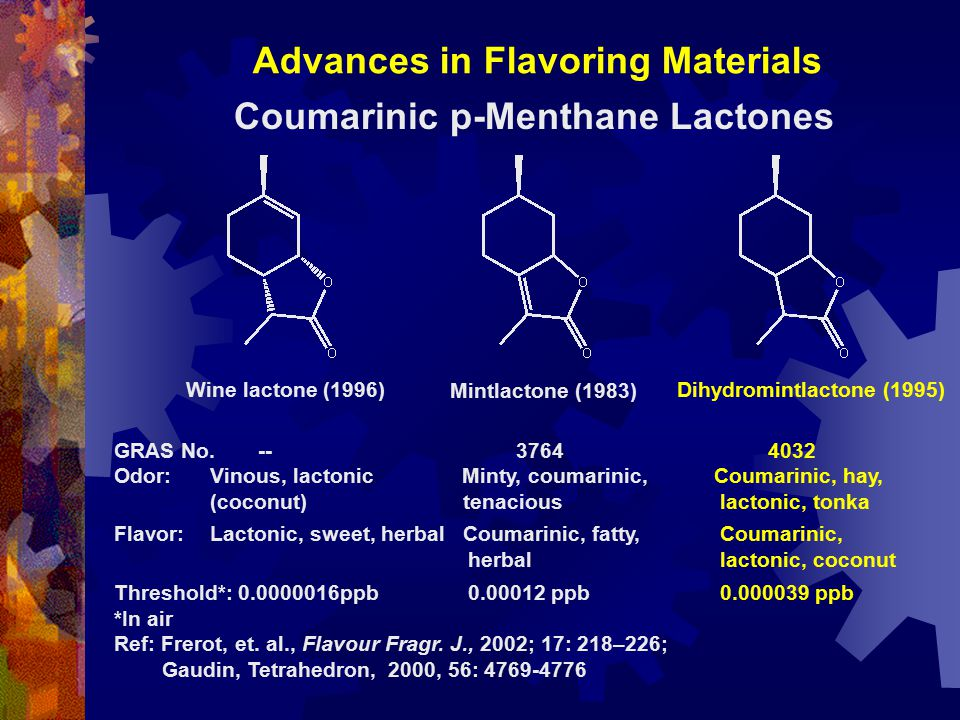 Advances in Flavoring Materials Mintlactone (1983) Dihydromintlactone (1995)Wine lactone (1996) GRAS No. -- 3764 4032 Odor:Vinous, lactonic Minty, cou