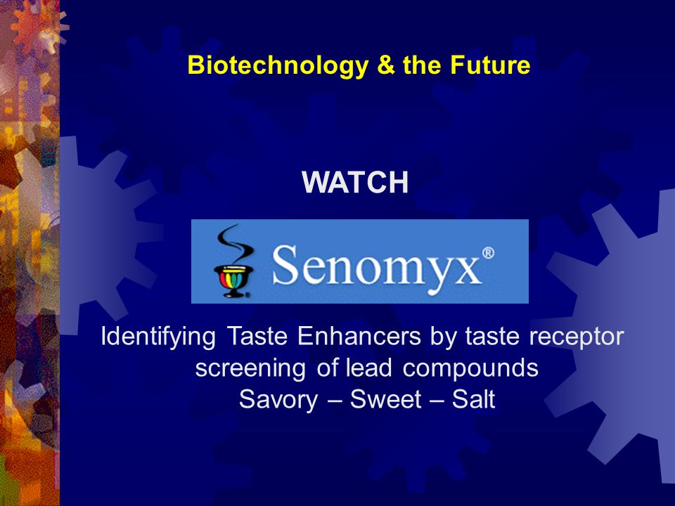 WATCH Identifying Taste Enhancers by taste receptor screening of lead compounds Savory – Sweet – Salt
