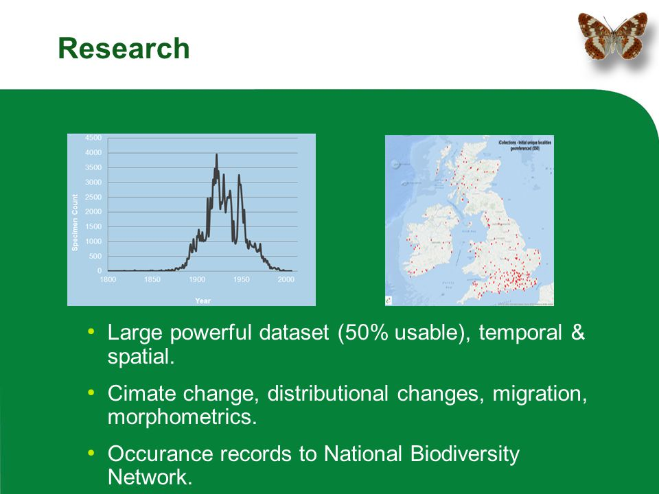 Research Large powerful dataset (50% usable), temporal & spatial. Cimate change, distributional changes, migration, morphometrics. Occurance records t