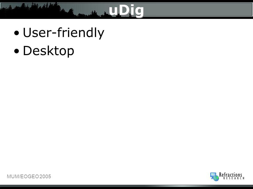 MUM/EOGEO 2005 uDig User-friendly Desktop