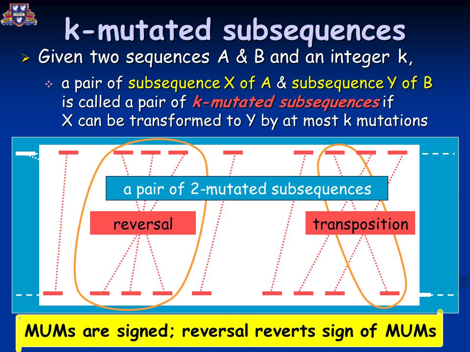 k-mutated subsequences  Given two sequences A & B and an integer k,  a pair of subsequence X of A & subsequence Y of B is called a pair of k-mutated subsequences if X can be transformed to Y by at most k mutations reversaltransposition a pair of 2-mutated subsequences MUMs are signed; reversal reverts sign of MUMs