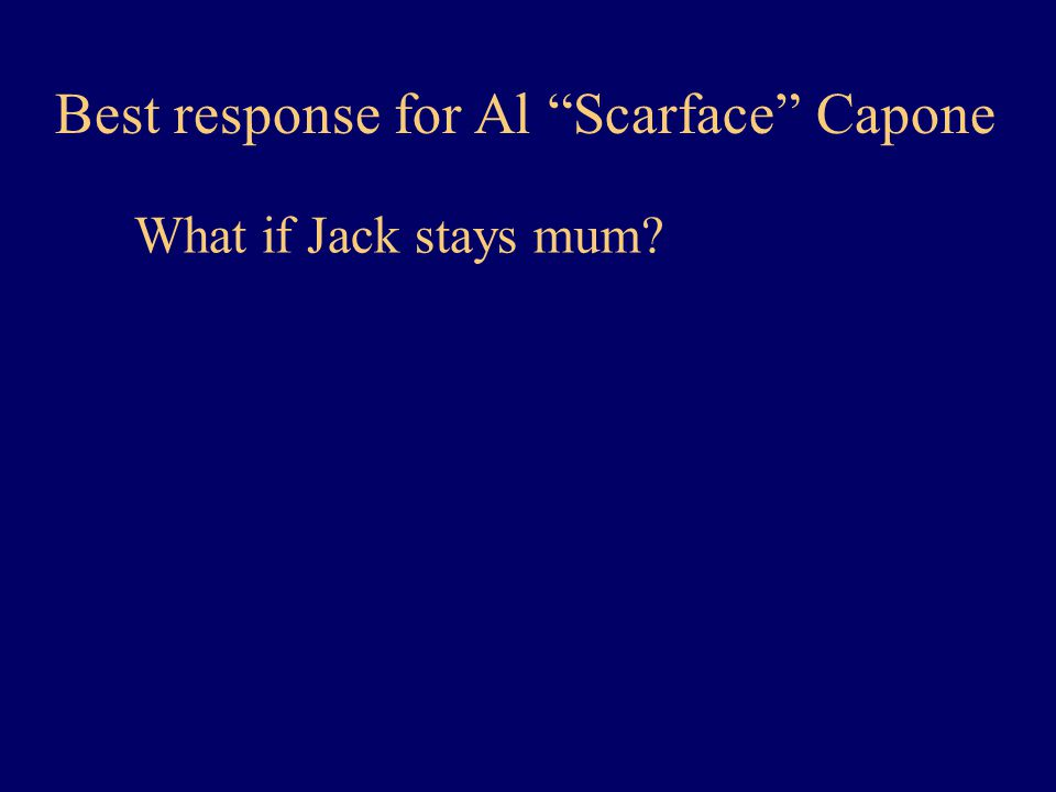 Best response for Al Scarface Capone What if Jack stays mum?
