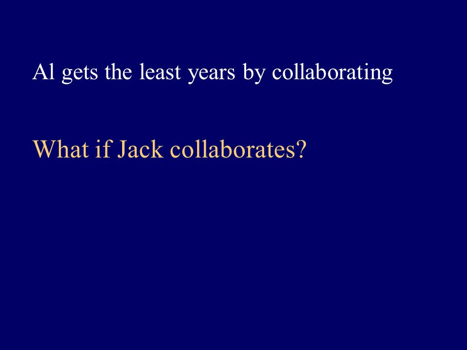 Al gets the least years by collaborating What if Jack collaborates?