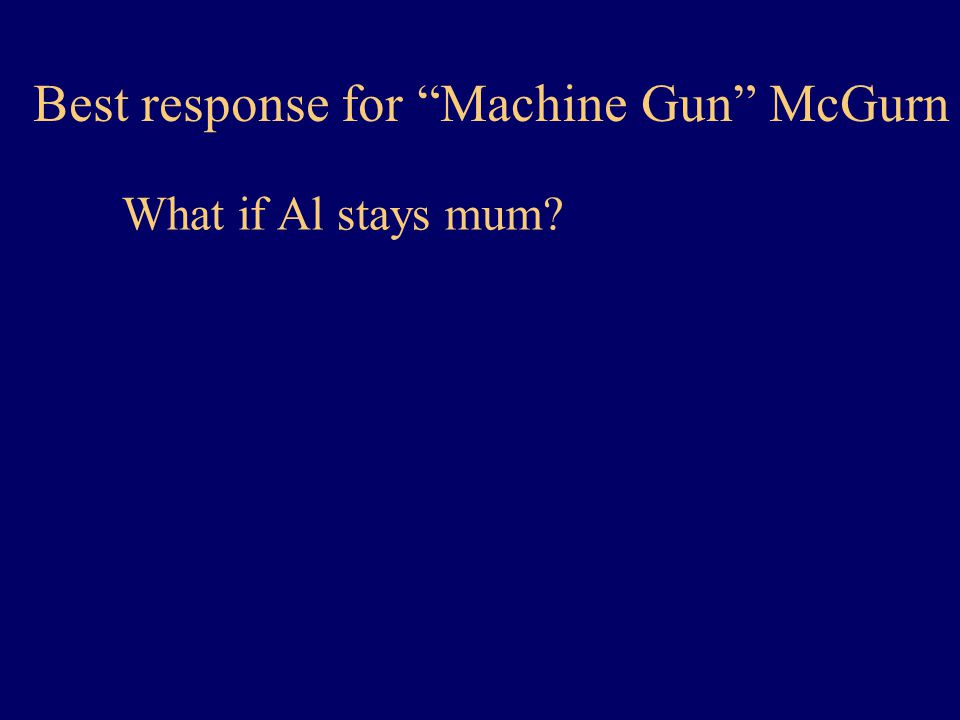 Best response for Machine Gun McGurn What if Al stays mum?