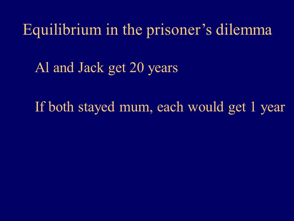 Equilibrium in the prisoner's dilemma Al and Jack get 20 years If both stayed mum, each would get 1 year