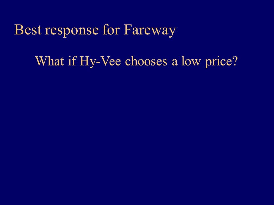 Best response for Fareway What if Hy-Vee chooses a low price?