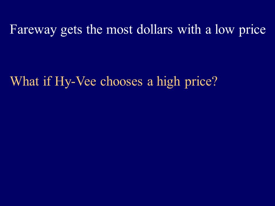 Fareway gets the most dollars with a low price What if Hy-Vee chooses a high price?