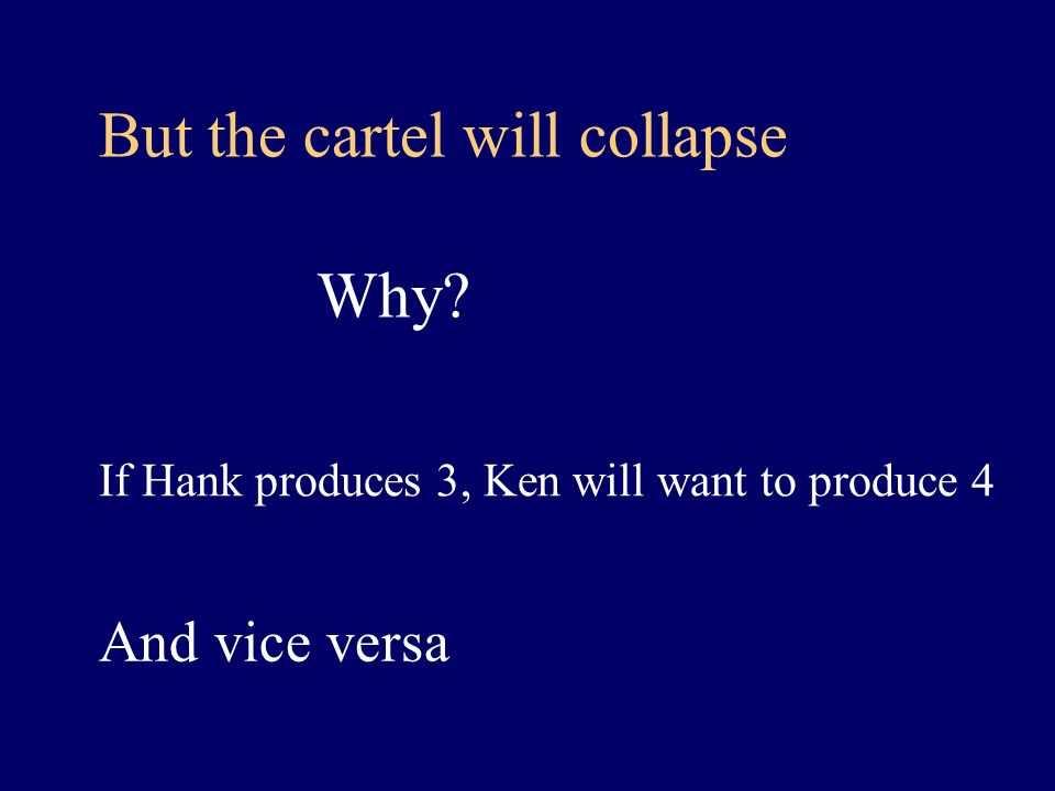 But the cartel will collapse Why If Hank produces 3, Ken will want to produce 4 And vice versa