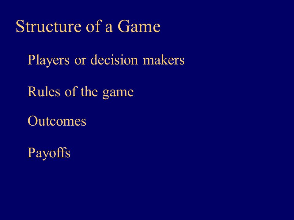 Players or decision makers Structure of a Game Rules of the game Outcomes Payoffs