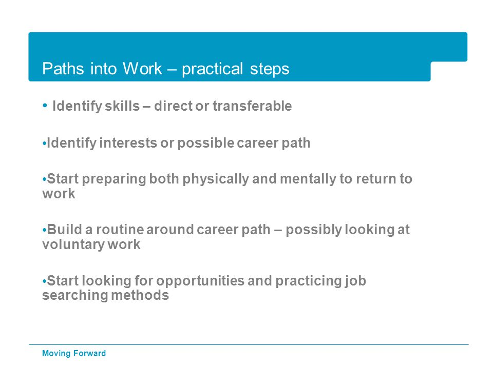 Paths into Work – practical steps Identify skills – direct or transferable Identify interests or possible career path Start preparing both physically and mentally to return to work Build a routine around career path – possibly looking at voluntary work Start looking for opportunities and practicing job searching methods Moving Forward