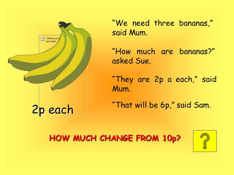 We need three bananas, said Mum. How much are bananas asked Sue.
