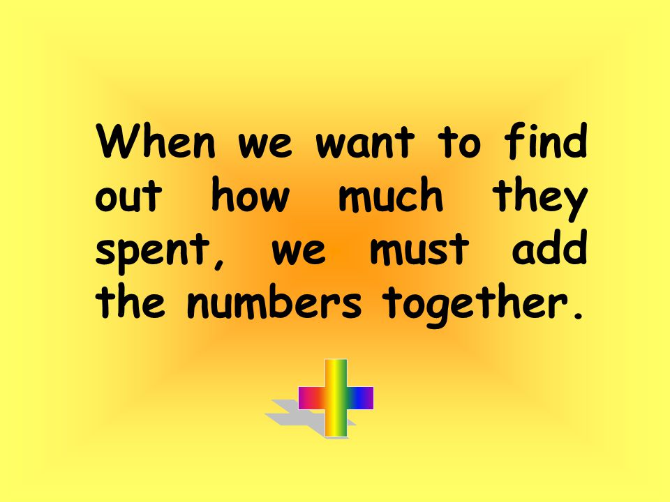 When we want to find out how much they spent, we must add the numbers together.