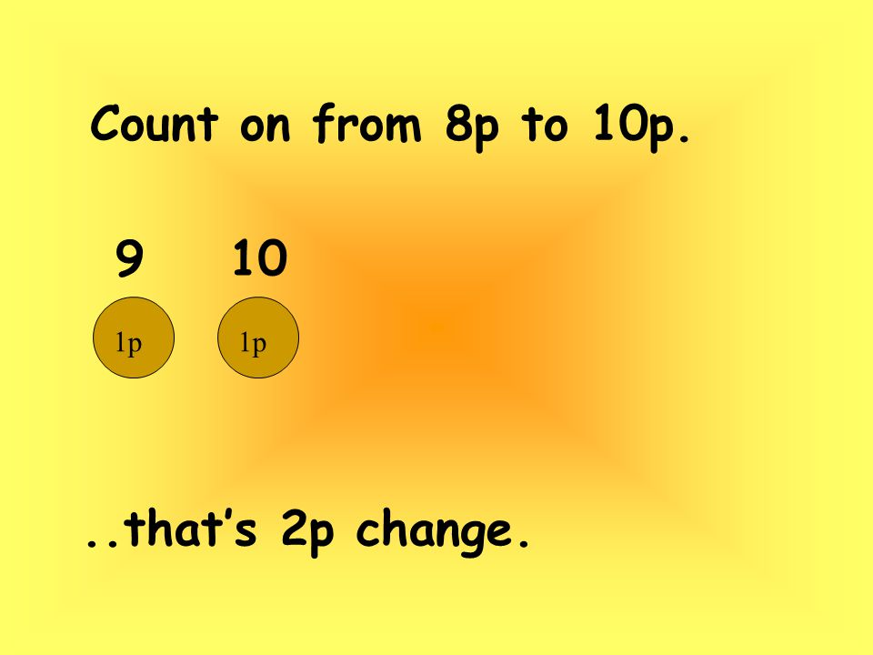 Count on from 8p to 10p...that's 2p change. 9 10 1p