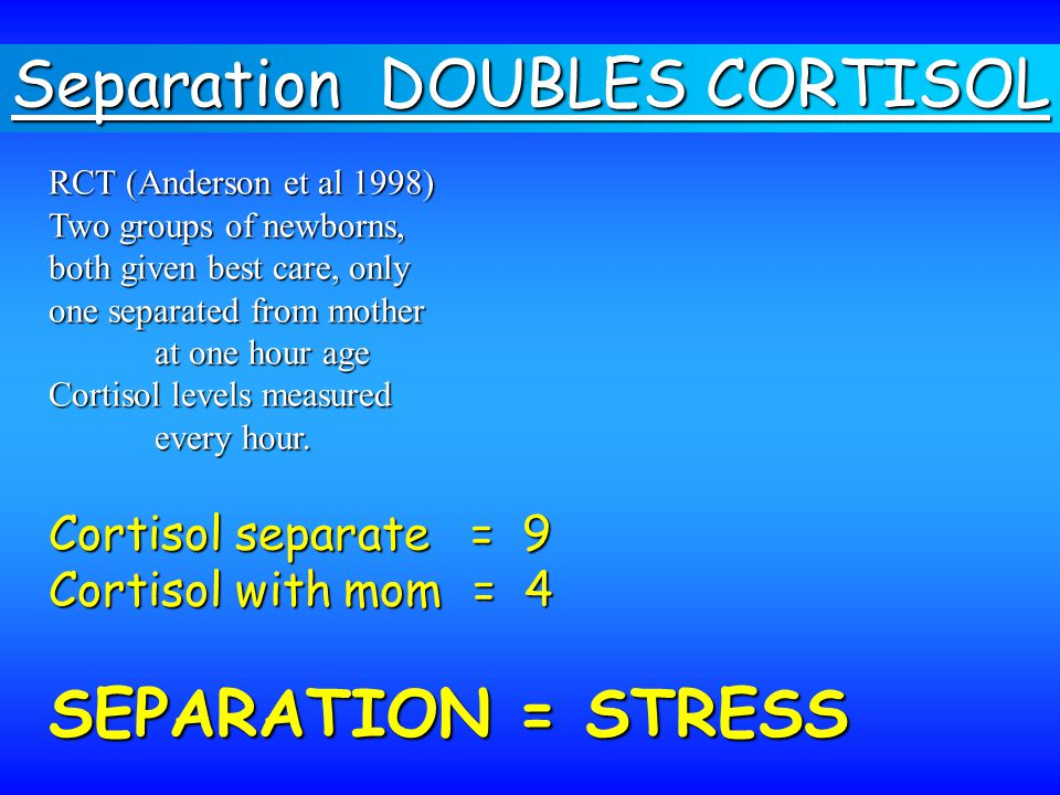 RCT (Anderson et al 1998) Two groups of newborns, both given best care, only one separated from mother at one hour age Cortisol levels measured every