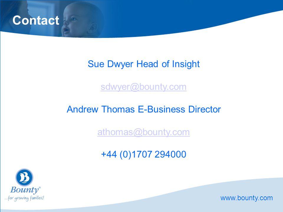Contact Sue Dwyer Head of Insight sdwyer@bounty.com Andrew Thomas E-Business Director athomas@bounty.com +44 (0)1707 294000