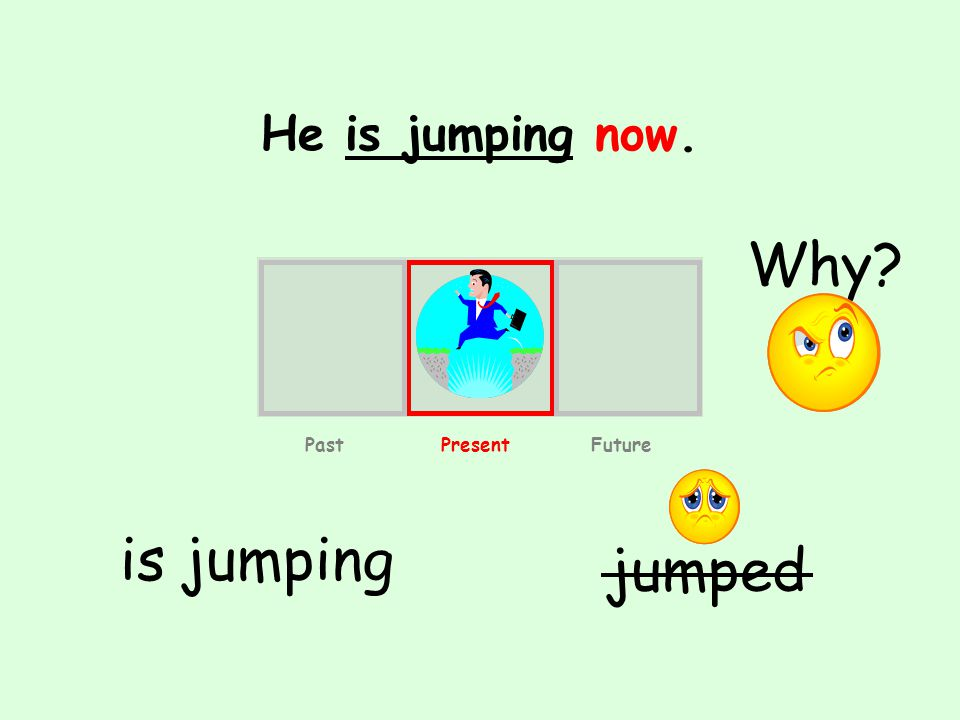 He is jumping now. is jumping jumped Past Present Future Why