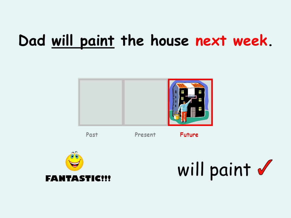 Dad will paint the house next week. will paint Past Present Future FANTASTIC!!!