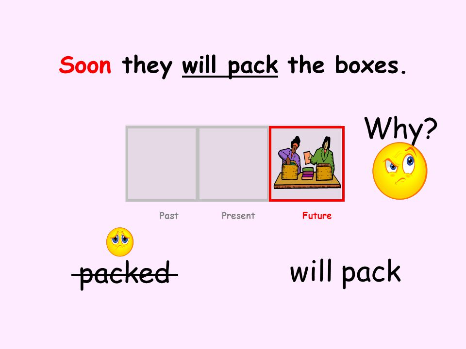Soon they will pack the boxes. packed will pack Past Present Future Why
