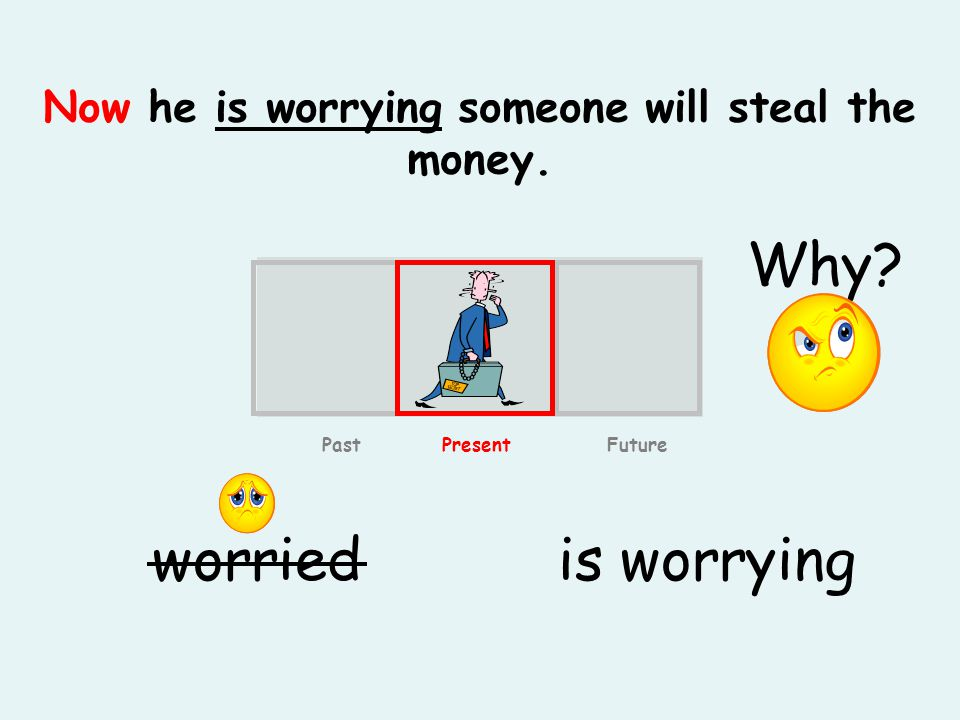 Now he is worrying someone will steal the money. is worryingworried Past Present Future Why