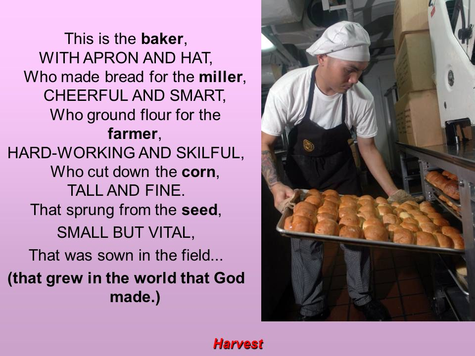 Harvest This is the baker, WITH APRON AND HAT, Who made bread for the miller, CHEERFUL AND SMART, Who ground flour for the farmer, HARD-WORKING AND SKILFUL, Who cut down the corn, TALL AND FINE.