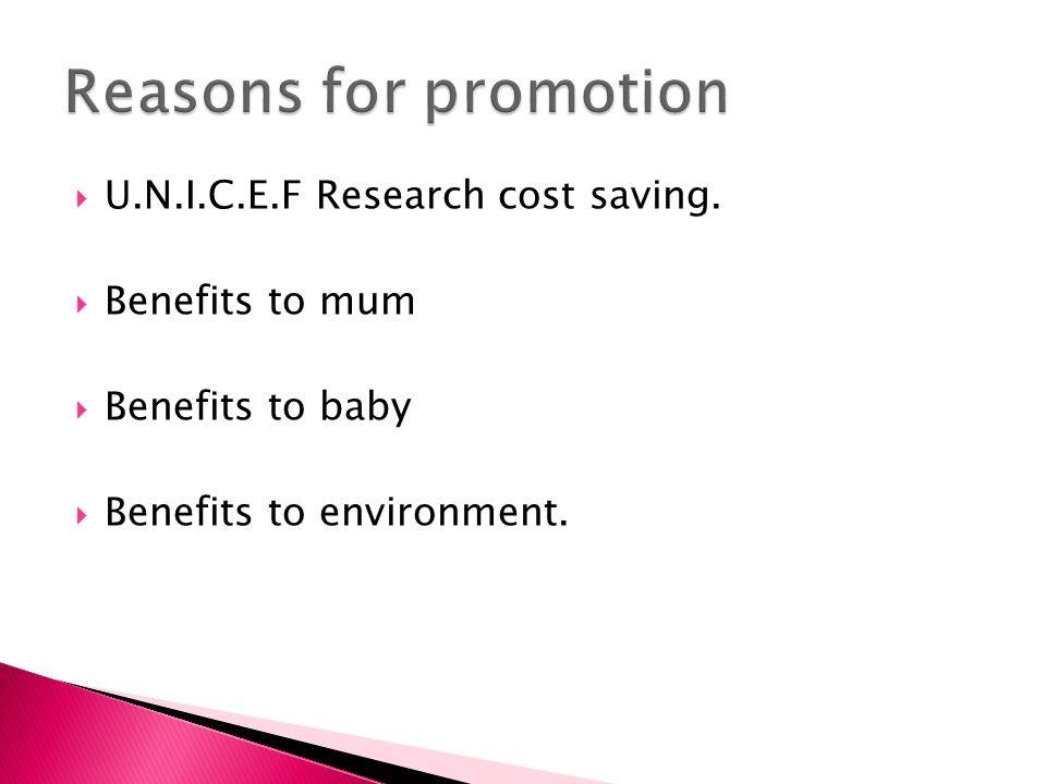  U.N.I.C.E.F Research cost saving.  Benefits to mum  Benefits to baby  Benefits to environment.