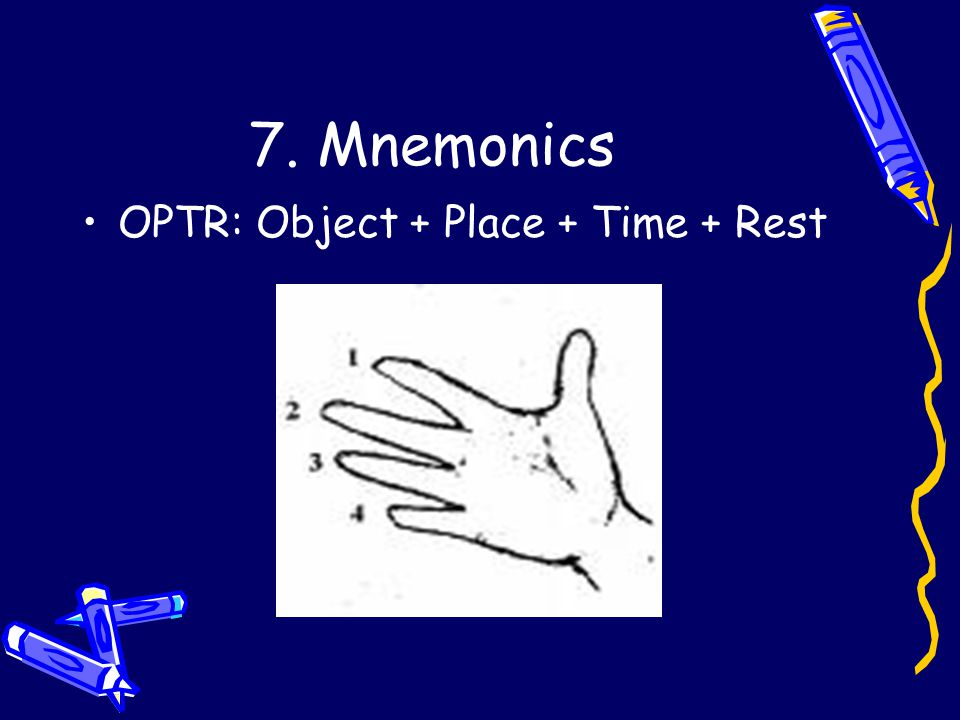 7. Mnemonics OPTR: Object + Place + Time + Rest