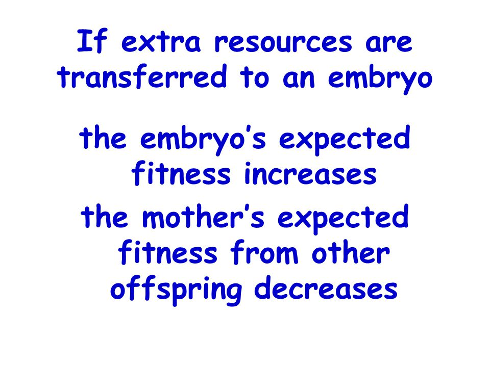 If extra resources are transferred to an embryo the embryo's expected fitness increases the mother's expected fitness from other offspring decreases