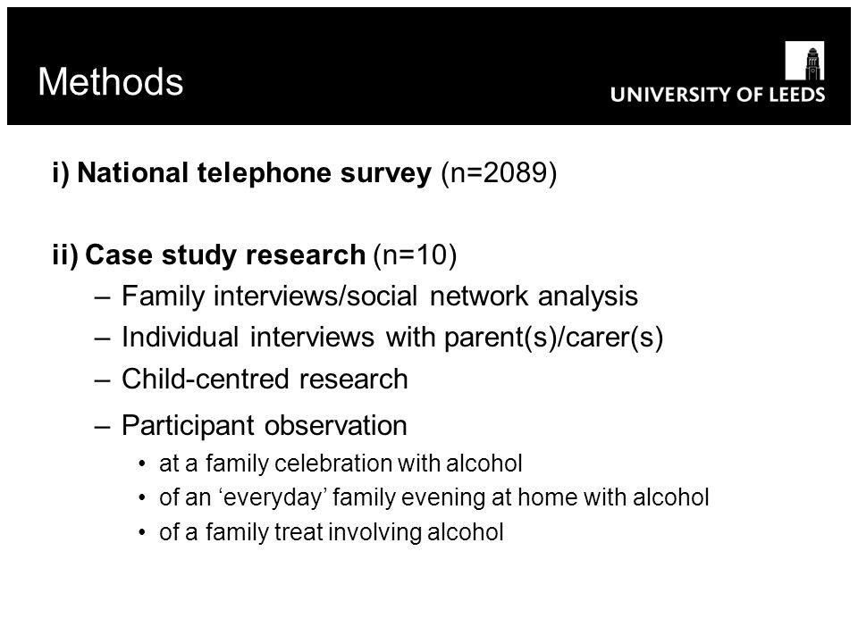 i) National telephone survey (n=2089) ii) Case study research (n=10) –Family interviews/social network analysis –Individual interviews with parent(s)/carer(s) –Child-centred research –Participant observation at a family celebration with alcohol of an 'everyday' family evening at home with alcohol of a family treat involving alcohol Methods