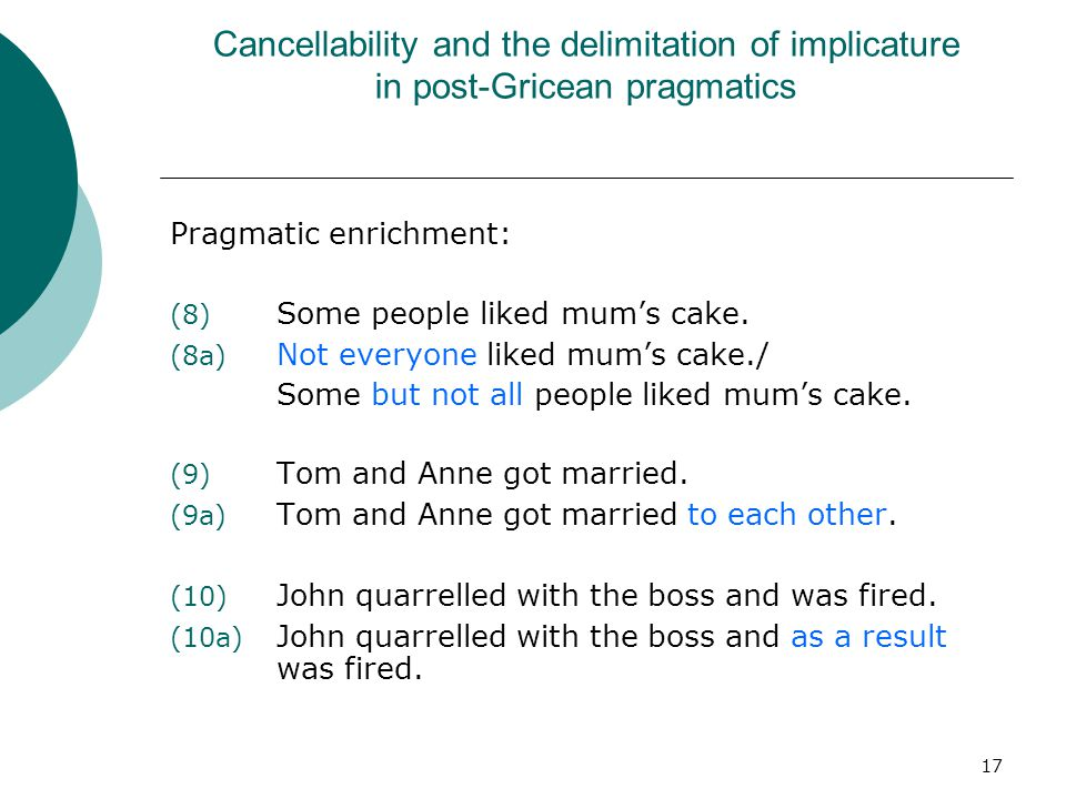 17 Cancellability and the delimitation of implicature in post-Gricean pragmatics Pragmatic enrichment: (8) Some people liked mum's cake. (8a) Not ever